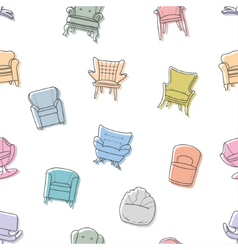 Seamless armchairs pattern vector image vector image