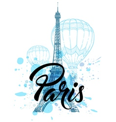 Eiffel Tower and air balloons vector image vector image