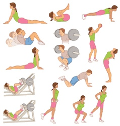 Exercising and stretching vector