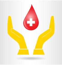 Hands and drop blood vector