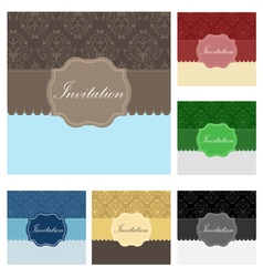 Vintage wedding invitation set vector image vector image