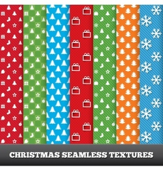 7 Merry christmas seamless patterns vector image vector image