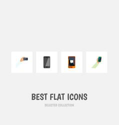 flat icon smartphone set of smartphone chatting vector image