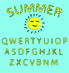 Floral summer font Red and yellow colors of the vector image