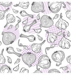 hand drawn sketch style garlic pattern vector image