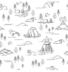 Pattern with hiking and landscape elements vector