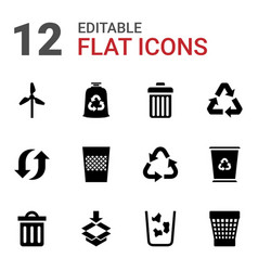 12 recycle icons vector