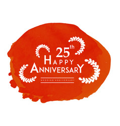 25th happy anniversary leaves red paint background vector image