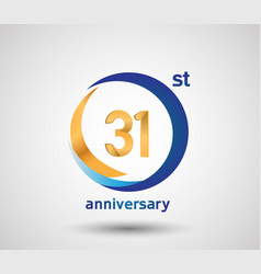 31 anniversary design with blue and golden circle vector