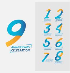 9 year anniversary celebration set template design vector