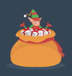 a little elf is sitting in a sack with gifts vector image