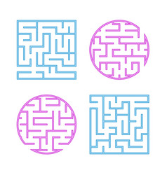 A set of colored labyrinths for children a square vector