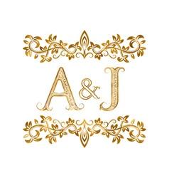 AJ vintage initials logo symbol Letters A J vector