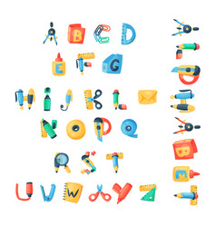 Alphabet stationery letters abc font vector
