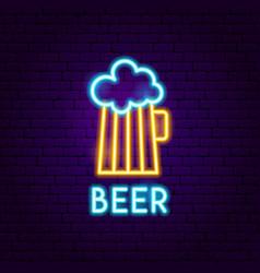 Beer pub neon label vector