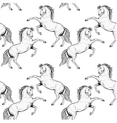 Black rearing horse seamless pattern a vector