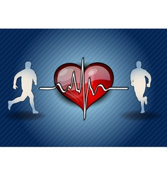 blue runners with the heart symbol vector image