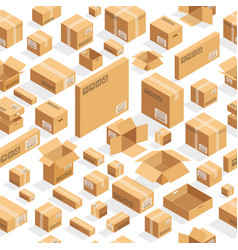 brown boxes on white seamless pattern vector image