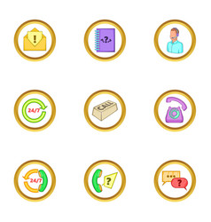 call service icons set cartoon style vector image
