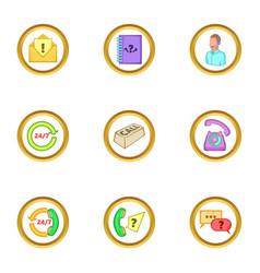 Call service icons set cartoon style vector