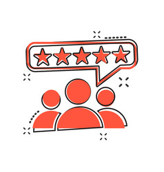Cartoon customer reviews user feedback icon in vector