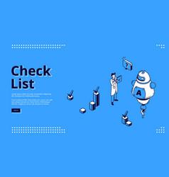 check list online survey isometric web banner vector image