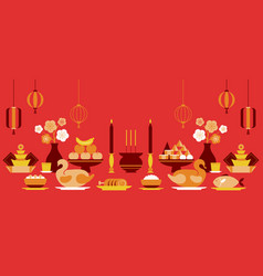 chinese new year sacrificial offering objects vector image