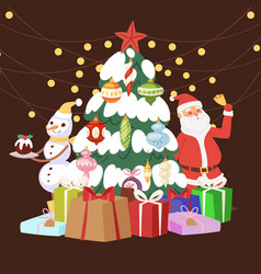 christmas tree with cartoon santa claus gift vector image