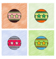 Circus ball in hatching style vector
