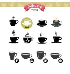 coffee cup set tea cup icon collection vector image