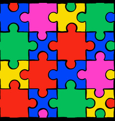 Colorful puzzle seamless pattern background vector