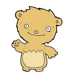 Comic cartoon waving teddy bear vector
