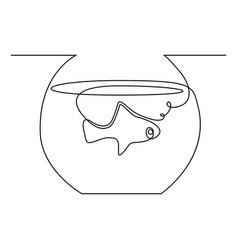 continuous one line aquarium fish vector image