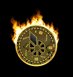 crypto currency bitshares golden symbol on fire vector image