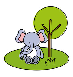 Cute and tender elephant in the jungle character vector