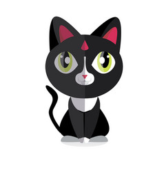 Cute cat flat styling vector