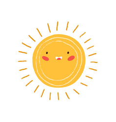 cute happy summer sun with rays childish drawing vector image
