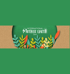 earth day banner of color leaves in recycled paper vector image