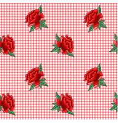 Embroidery roses on checkered background vector