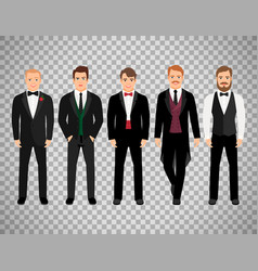 fashion business men on transparent background vector image vector image