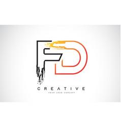Fd creative modern logo design with orange and vector