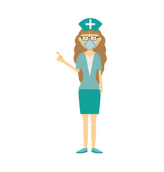 Female nurse mask medical glasses vector