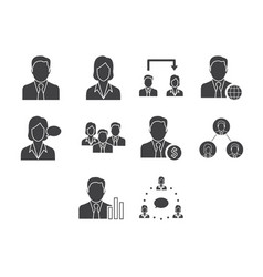 Flat black business people icon set vector