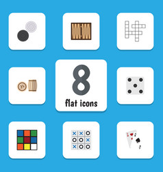 Flat icon games set backgammon chequer guess vector