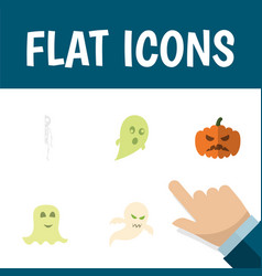 Flat icon halloween set of skeleton phantom vector