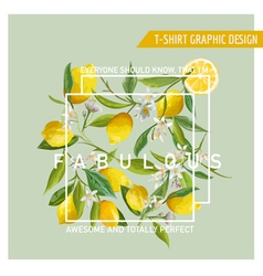 Floral Graphic Design Lemon Background T-shirt vector image
