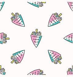 fun memphis strawberry pattern seamless vector image