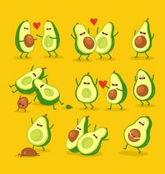 funny cartoon couples character avocado set vector image
