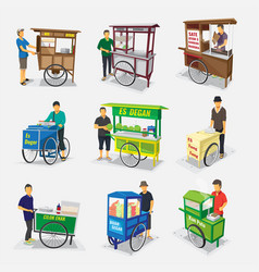 Gerobak jajanan pasar indonesia - translate vector