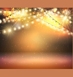 gold shine garland greeting background with vector image